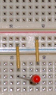 A LED connected to two bus strips